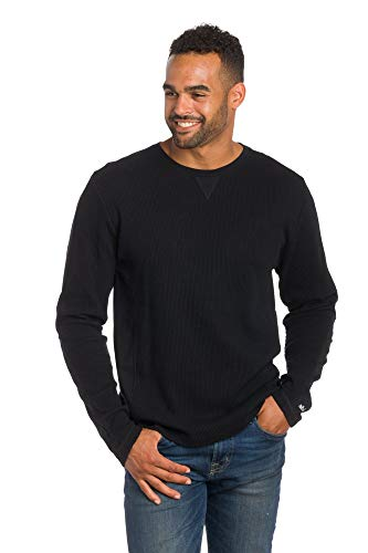 Ably Apparel Luxor Thermal Pullover Crew Neck Shirt | Repels Liquids, Stains, and Odors Black ()