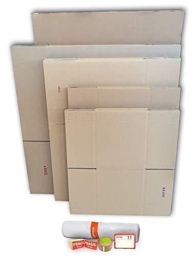 Cajas de Cartón para Mudanzas (Pack MEDIANO de 21 Cajas + Accesorios) - Cajas de Canal Simple, Doble y de Color Marrón. Fabricadas en España. Cumplen ...