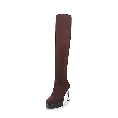 AgooLar Women's High Heels Frosted High Top Solid Pull-On Boots Brown yeo8zK
