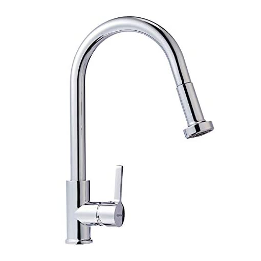 Kitchen Amazon Basics Modern Pull-Down Kitchen Sprayer Faucet, Polished Chrome modern sink faucets