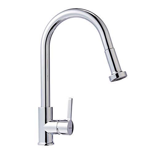 AmazonBasics Modern Pull-Down Kitchen Faucet, Polished Chrome - Lavatory Kitchen Faucet