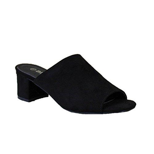 Zapato de tacón destalonado. Puntera abierta. Altura del tacón 6,0 cm. Negro