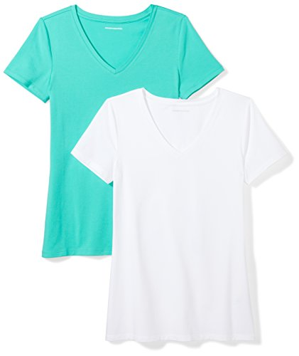 Amazon Essentials Women's 2-Pack Classic-Fit Short-Sleeve V-Neck T-Shirt, Mint Green/White, Small