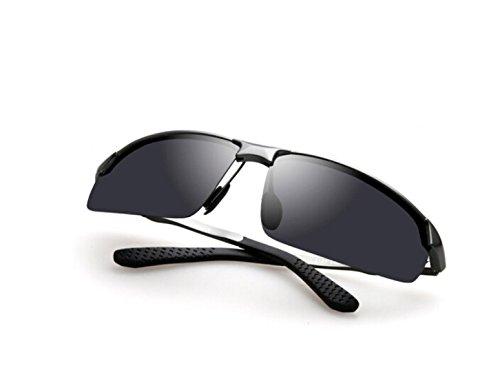 Enmarcadas Frame NHDZ Ash Gafas Blue Moda Deportiva Sol Hombre Aluminio De Conducción Black Chip Plata Gafas Anteojos De Polarizados Gafas De Magnesio Silver RRUFq