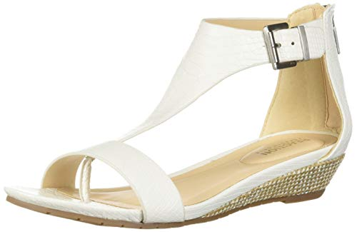 Kenneth Cole REACTION Women's Great Gal T-Strap Low Wedge Sandal, White 10 M US ()
