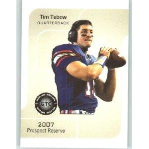 (2007 Prospect Reserve Football Card - TIM TEBOW Blue JSY - Florida Gators (Rookie Prospect Football Cards) New York Jets QB)