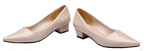 Shoes Pumps Leather Beige Toe Patent Women's Low Solid Heels WeenFashion Closed ZRzBq8wZx