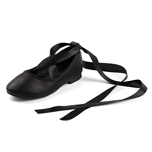 Nova Utopia Toddler Little Girls Dress Ballet Flat Shoes wth Ribbons,NF Utopia Girl NFGF315 Black 10
