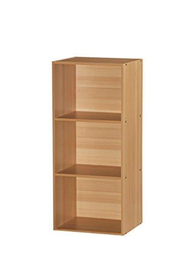 Beech Bookcase - Hodedah 3 Shelve Bookcase, Beech