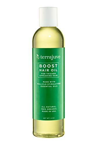 Terrajuve Boost Hair Oil- For Thicker Appearing Hair, Made With Follicle Stimulating Essential Oils. All Natural 100% Organic Made in USA (8.0 Oz) (Best Essential Oil For Baldness)