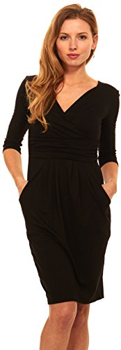 Women 3/4 Sleeve Wrap V-Neck Jersey Pencil Dress With Pockets (Medium, Black)
