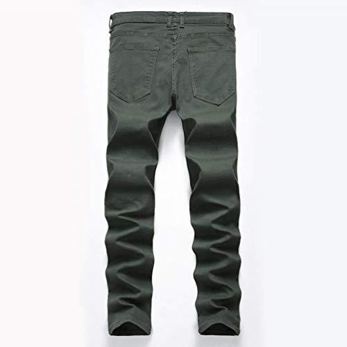 Stonewashed Slim Jeans Fit Mezclilla Look Armeegrün Strech Used Pantalones De Los Jeans Hombres Casuales Destruido Vaqueros Pantalones Skinny De Biker Pantalones qIBTzYw