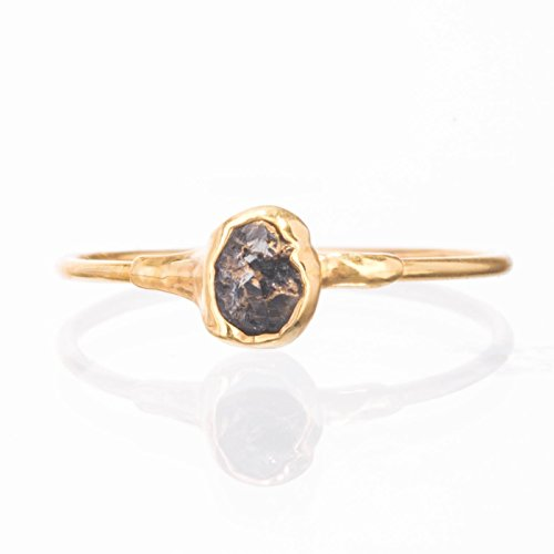 Stackable Raw Black Diamond Ring, Size 6, Yellow Gold