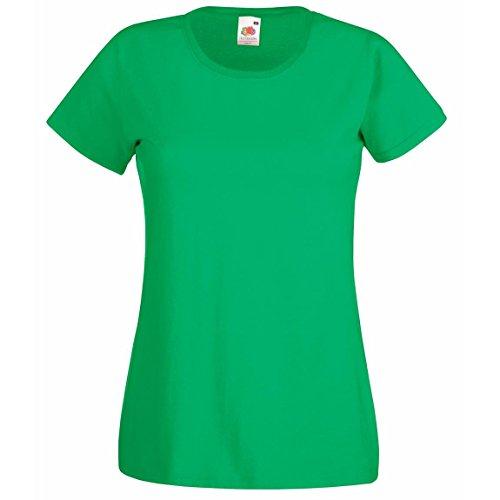 Valueweight de Lady-fit Wear conector en T de cuello de manga corta para mujer bajera para redondo Casual de hombre de Verde