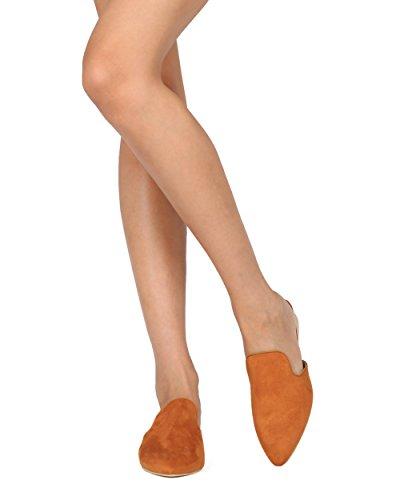 Alrisco Women Mulo A Tacco Basso - Slide A Punta Appuntita - Casual Dressy Versatile Moda Trendy Mule - He62 By Mackin J Collection Butteron Faux Suede