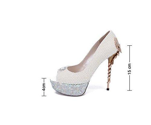 White White High Wedding Banquet Koyi 15CM Fish Pump Female Heels Mouth Pearl Sandals Fashion OHqda8