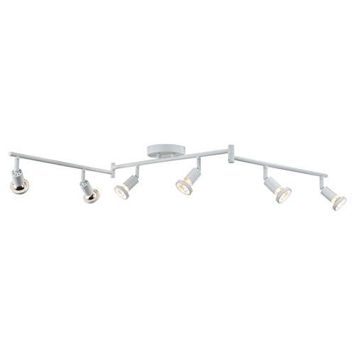 DnD 6-Light Adjustable Track Lighting Kit - Flexible Foldable Arms- GU10 Halogen Bulbs Included. CE2000-WS (White) - White Track Lighting