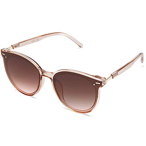 SOJOS Classic Round Retro Plastic Frame Vintage Inspired Sunglasses BLOSSOM SJ2067 with Clear Brown Frame/Brown Lens