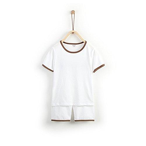 Huluwa Children's Pajama, Unisex 2-Piece Summer Sleepwear, 100% Cotton Kids' Short Set for Little Boys Girls, White