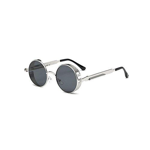 Biu'gss Gothic Hippie Steampunk Sunglasses Retro Round Circle Frame For Men Women WW001 (Silver Frame, Gray Lens) by Biu'gss