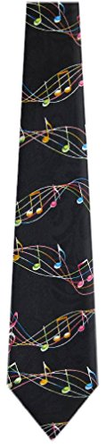 MN-318 - Mens Novelty Musical Notes Necktie - Black Orange Pink