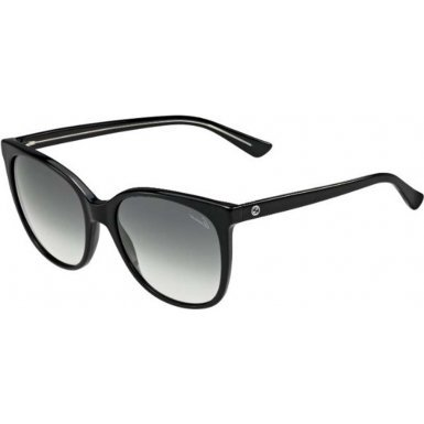 Gucci Women's Rounded Sunglasses, Black Crystal/Grey, One Size (Gucci Crystal Sunglasses)