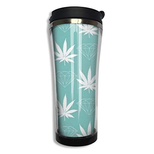 NiYoung Durable Stainless Steel Vacuum Insulated Travel Mug Coffee Cup, Leak Proof Thermal Tumbler for Home Office School - 14 oz, Cool Diamond Weed Mint Green