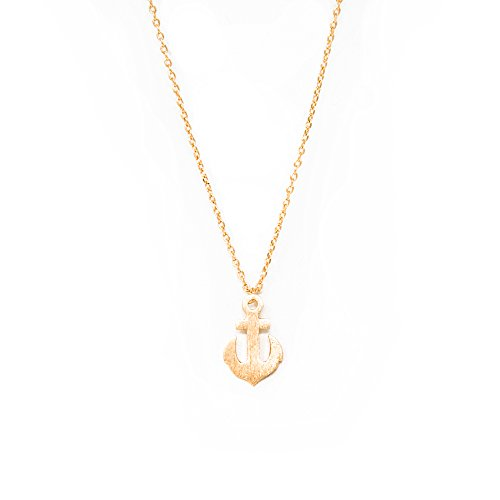 (Me Plus Anchor Small Charm Necklace Tiny Cute Pendant with Adjustable Clasp (Gold))