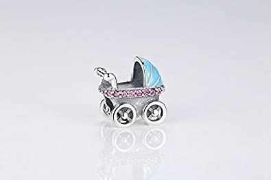 Bijoux Blu Blue Baby Carriage New Spring Collection 925 Sterling Silver Baby Stroller Blue Car Charms fit Bracelet DIY Accessories