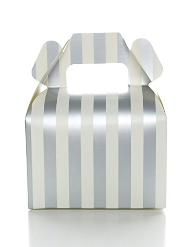 Silver Wedding Favor Box, Silver Stripe Party Boxes (12 Pack) - Square Gable Gift Box, Treat Boxes for Party Themes and Anniversary or Graduation Candy Boxes