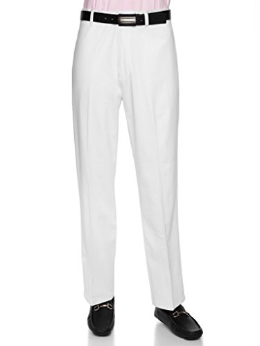 Cotton Wrinkle Free Twill Pant - AKA Men's Wrinkle Free Cotton Twill - Traditional Fit Slacks Flat-Front Chino Straight-Legs Casual Pants White 46 Medium