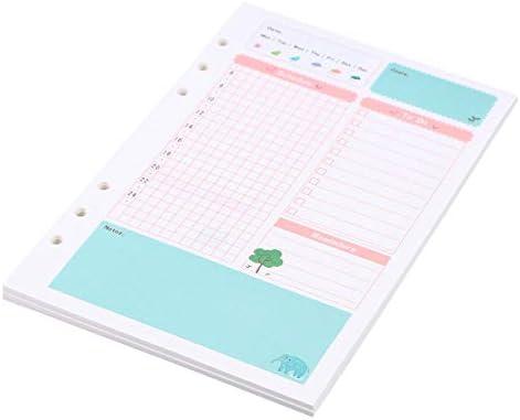 YeahiBaby 2 Bunte Nachfülleinlagen A5 Größe 6 Löcher lose Blätter Papier Nachfüllpapier für Spiralbuch Notizbuch Monatsplaner Notizblock (Tagesplanmuster)