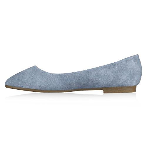 Stiefelparadies Klassische Damen Ballerinas Strass Leder-Optik Schuhe Elegante Slipper Slip On Flats Glitzer Übergrößen Abiball Flandell Hellblau Gold