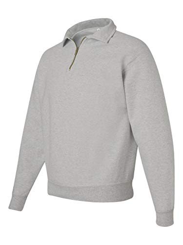 Jerzees mens 9.5 oz. 50/50 Super Sweats NuBlend Fleece Quarter-Zip Pullover(4528)-OXFORD-XL