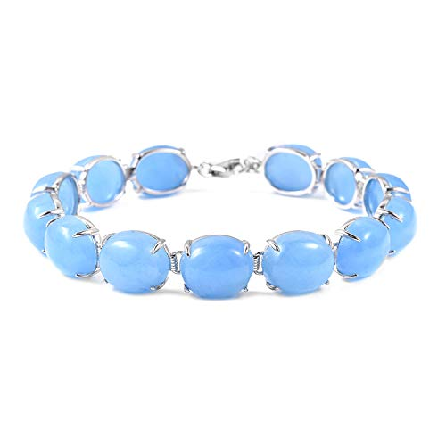 Tennis Bracelet925 Sterling Silver Oval Dyed Blue Jade Jewelry for Women Size 7.25