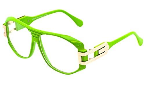 Gazelle Grandmaster Hip Hop Clear Lens Sunglasses (Green & Gold, - Celeb Sunglasses