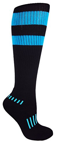 MOXY Socks Black with Blue Vintage 70's Stripes Athletic Knee-High (High Five Blue Soccer Uniform)