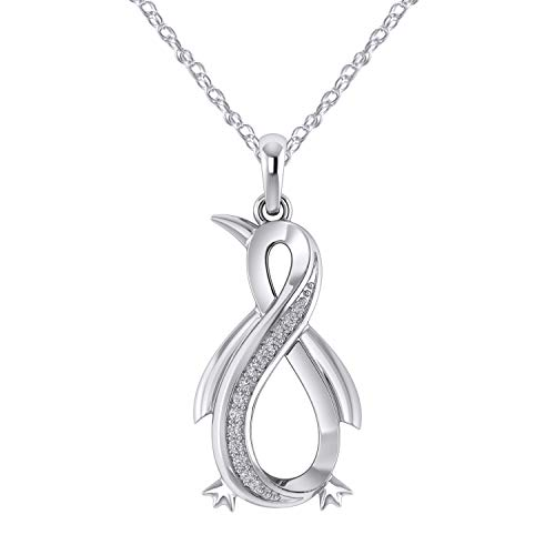 Pretty Jewels Natural Diamond Penguin Infinity Pendant Necklace 18