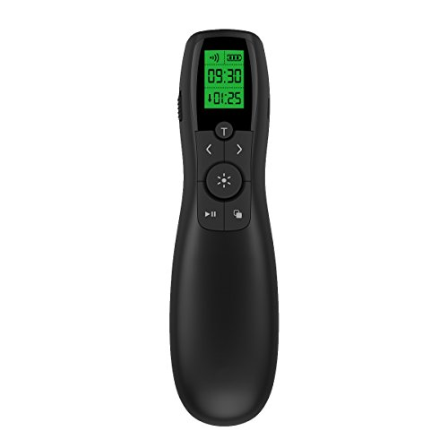 Presentation Remote Rechargeable Wireless Presenter LCD Display, 2.4GHz Wireless USB Powerpoint Clicker Remote Control by doosl