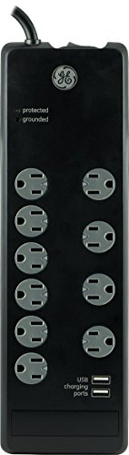 GE Surge Protector with 10 Outlets and 2 USB Ports, Twist-to-Lock, Black, 13476 (10 Outlet Surge Suppressor)