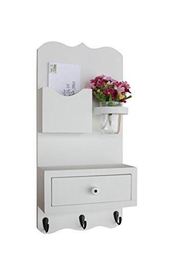 Legacy Studio Decor Mail Organizer with drawer, key hooks and mason jar (Smooth, White)