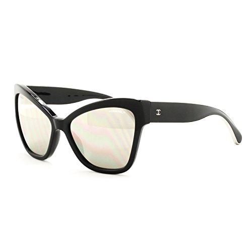 691231501 Chanel 5271 Oversized Cat Eye Sunglasses 501/T7 Black & Silver / Silver  Mirrored - Buy Online in KSA. chanel products in Saudi Arabia.
