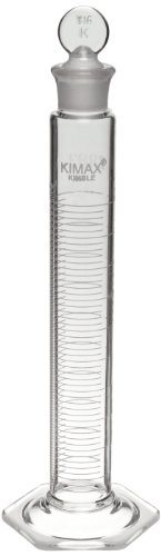Kimax 20036-50 Glass Certified Class A Graduated Mixing Cylinder, 50mL Capacity, 3 - 50mL Graduation Interval (Case of 6) by Kimax