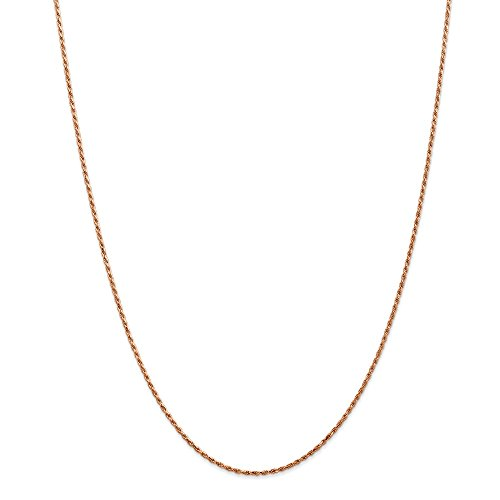 14k Rose Gold 1.5mm Link Rope Chain Necklace 18 Inch Pendant Charm Fine Jewelry Gifts For Women For Her ()
