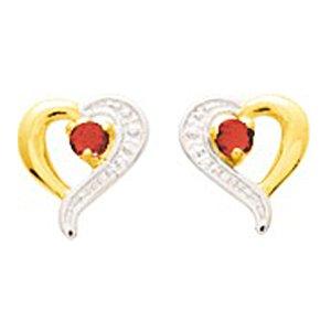 So Chic Bijoux © Boucles d'oreilles Femme Puces Coeur Ajouré Rubis Rouge & Oxyde de Zirconium Blanc Or Jaune 750/000 (18 carats)