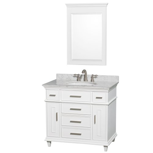 Berkeley Bathroom Vanity - Wyndham Collection Berkeley 36 inch Single Bathroom Vanity in White with White Carrera Marble Top with White Undermount Oval Sink and 24 inch Mirror