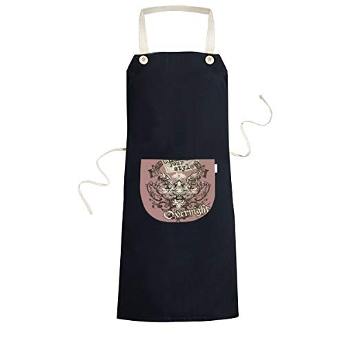 Graffiti Street Culture Change Your Style Hand-Decorated Symmetrical Two-Headed Bird Art Illustration Pattern Cooking Kitchen Black Bib Aprons with Pocket for Women Men Chef Gifts