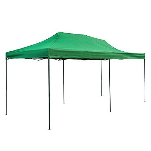 タープテント 大型 6m×3m 頑丈フレーム ワンタッチ グリーン/緑 工具不要 アウトドア キャンプ イベント等 □_71040 B001CZH4NS