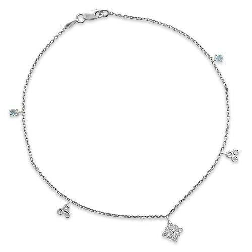 Gioie Chaîne de Cheville Femme en Or 18 carats Blanc avec Diamant H/SI et Aigue-marine, Cm 23, 3.1 Grammes