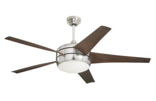 Emerson Ceiling Fans CF955BS Midway Eco Modern Energy Star Ceiling Fan With Light And Remote, 54-Inch Blades, Brushed Steel Finish - Emerson Glass Ceiling Fan